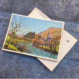 antique postcard view illustration antique 1930 1940 1932 zuppinger nay swiss lourdes christian city holy france basilica castle