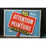 vintage paper poster becareful fresh paint ripolin peinture 1960