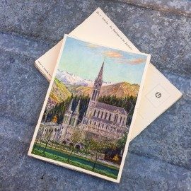 antique postcard view illustration 1930 1940 1932 zuppinger swiss lourdes christian city holy france basilique pyrénées