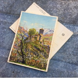 antique postcard view illustration 1930 1940 1932 zuppinger swiss lourdes christian city holy france castle and the pyrenees