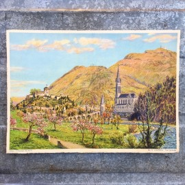 antique poster view illustration 1930 1940 1932 zuppinger swiss lourdes christian city holy france general view