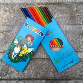 pack of 12 color pencils wood galipette old vintage 1980 school