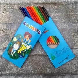 12 crayons de couleur galipette corgie ancien vintage papeterie 1980