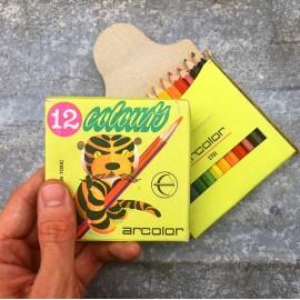 12 crayons de couleur tigre arcolor ancien vintage papeterie 1980