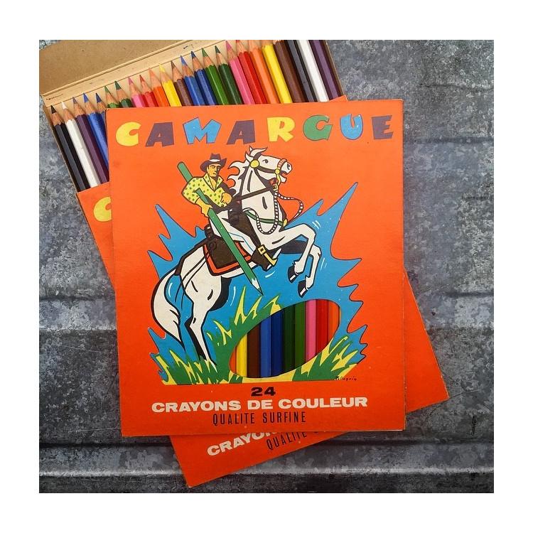 24 grands crayons de couleur camargue ancien vintage papeterie 1980