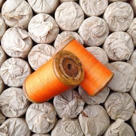 ancienne bobine coton julien thiriez pere et fils jtpf orange vintage filature ancienne mercerie