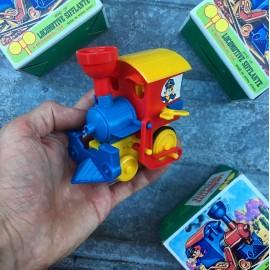 locomotive sifflante vintage jouet plastique pyragric wind up boite emballage 1980