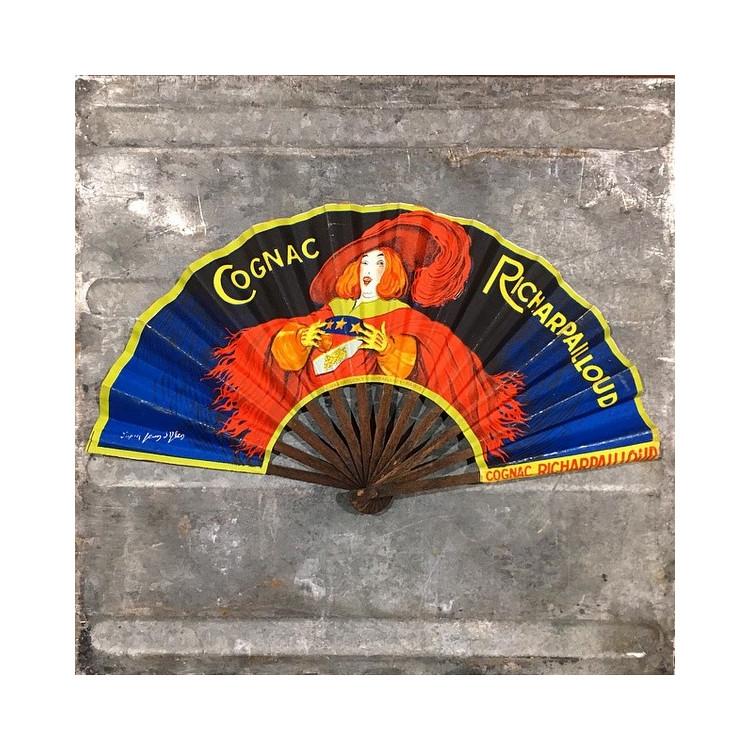 éventail publicitaire ancien vintage cognac richarpailloud 1920 1930 jean d'ylen ylen alcool