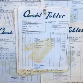 vintage paper bill from old french grocery 1950 1960 chocolate tobler toblerone