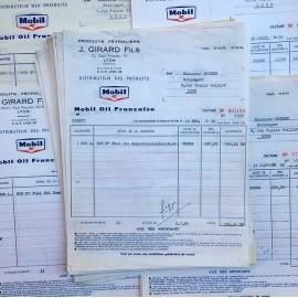 facture garage bon de livraison ancien ancienne papier stock vintage 1960 huile mobiloil mobil