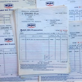 vintage paper bill from old french garage 1950 1960 mobiloil mobil oil