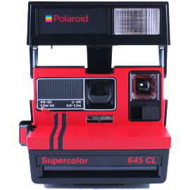 polaroid 645cl red close up supercolor black vintage pola 600 instant camera old 1980