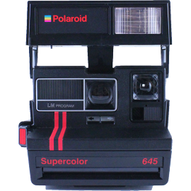 polaroid supercolor 645 instant camera 600 color flash 1980 red and black