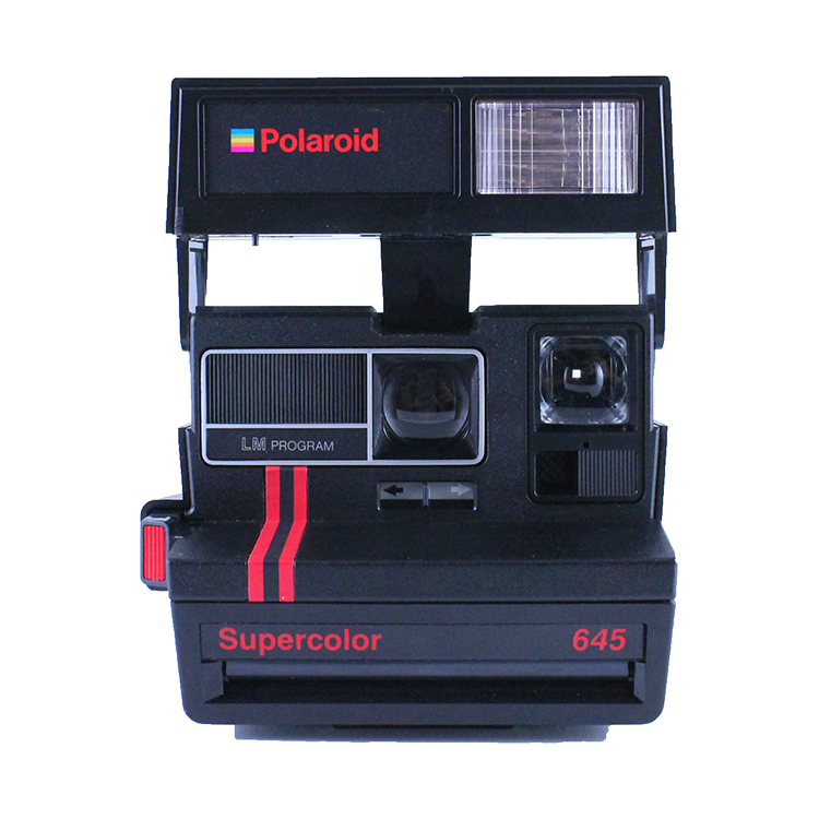 polaroid vintage 645 supercolor 645 ancien 600 couleur flash 1980 noir et rouge