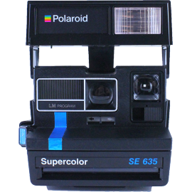 polaroid supercolor 635SE blue and black instant camera 600 color flash 1980