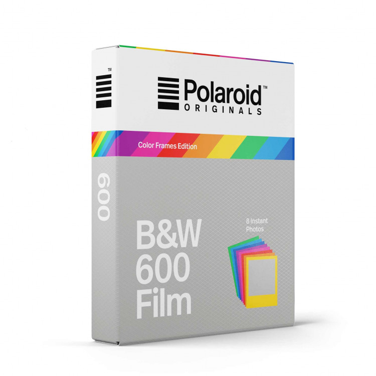 pellicule polaroid originals impossible project noir et blanc bord cadre arc en ciel coloré