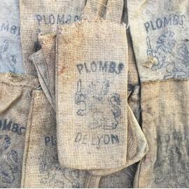 lead plombs de lyon vintage canvas bag 1930 tool shop antique