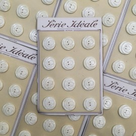 buttons card 12 plastic white beige haberdashery 26mm 1960