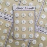 carte 12 boutons série idéale ancien vintage plastique beige mercerie 1960 26mm