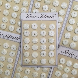 buttons card 24 plastic white beige haberdashery 20mm 1960