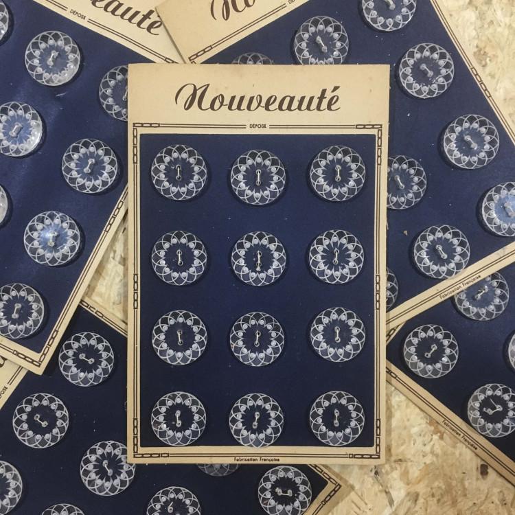 card 12 buttons transparent decorated antique vintage 27mm 1960