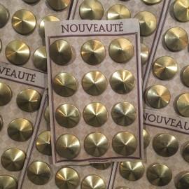 vintage metallic metal gold golden buttons card 12 27mm antique 1930 haberdashery