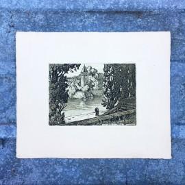 ancienne vue ile barbe gravure papier France Lyon 1930