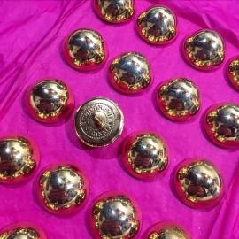 bouton militaire ancien demi grelot vintage plaqué or doré 22mm 1900 parade armée superieur france supérieur