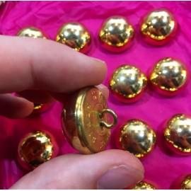 bouton militaire ancien gros demi grelot vintage plaqué or doré 25mm 1900 parade armée