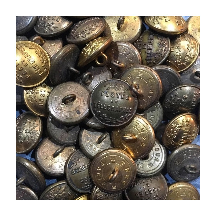 french post office button 23mm brass metal antique vintage 1900