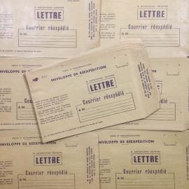 la poste enveloppe lettre ancien vintage papier kraft courrier  imprimerie 1970