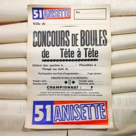 51 anisette affiche papier concours boules tête à tête pétanque ancien vintage imprimerie 1960