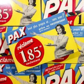 paquet lessive pax ancien vintage carton nouveau franc épicerie 1950
