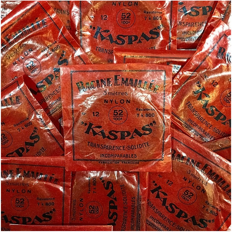 kaspas nylon fishing line red paper bag vintage 1930