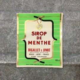 vintage paper label syrup mint sirop de menthe 1970