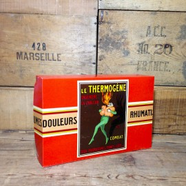 le thermogène display box antique vintage pharmacy cappiello illustration 1930 cardboard