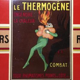 factice thermogène boite carton ancien vintage douleurs rhumatismes pharmacie illustration cappiello 1930
