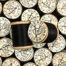 fil des nations cotton bobbin black antique vintage haberdashery thread factory 1930