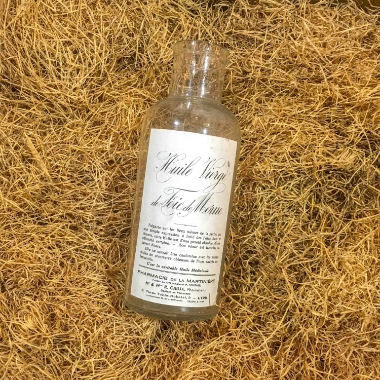 bouteille huile foie morue ancien vintage verre pharmacie médecine 1930