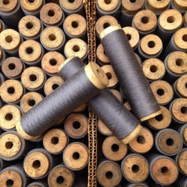 bobine soie grise bois ancien vintage mercerie 1930
