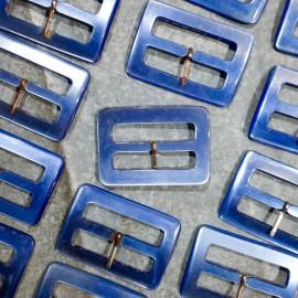 boucle plastique bleu ancien vintage clair mercerie 1960