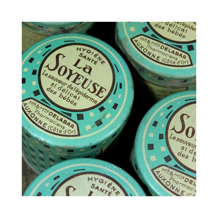 boite de talc la soyeuse bleue pharmacie ancienne vintage 1930 1940 illustration santé
