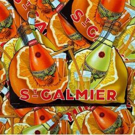 carton publicitaire ancien 2 bouteilles st galmier orangeade citronnade citron 1930 bistrot bar ravel frères codec