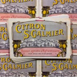 carton publicitaire ancien  st galmier citronnade citron 1930 bistrot bar ravel frères codec