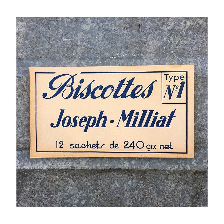 étiquette ancienne papier biscottes joseph milliat biscuiterie biscuit 1950 1960
